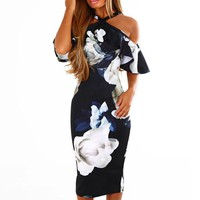 Women Sexy Bodycon Dress Floral Printed Off The Shoulder Ruffles Midi Dresses Summer Halter Lady Party Dress #L