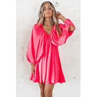 Still Blooming Fuchsia Mini Dress