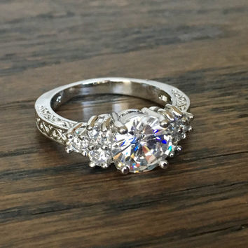 White Gold Filled 2ct Princess Cut CZ Engagement Ring