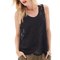 LOVE 21 Sheer Embroidered Woven Top Black