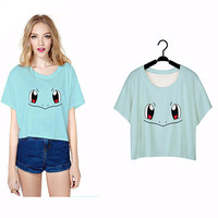 Lei-SAGLY Water Turtle Face Crop Tops Punk Harajuku Pokemon T-shirts Short Sleeve Women Clothes Summer O-neck T shirts F963