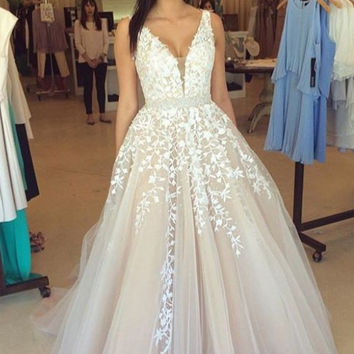 White Applique Straps  Prom Dresses