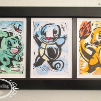 Pokemon Trio: Bulbasaur, Charmander, Squirtle. Generation 1 Starter Trio 5 x 7 Water Color and Ink Paintings