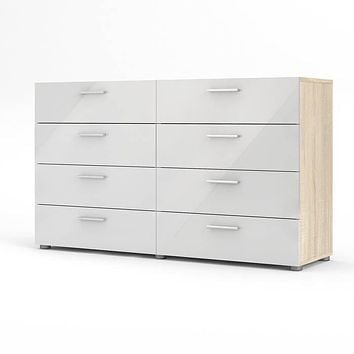 White Modern Bedroom 8-Drawer Double Dresser with Oak Finish Sides and Top