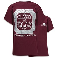 Southern Couture Preppy Classy & Fabulous Maroon T-Shirt