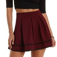 Oxblood Piped & Pleated Skater Skirt by Charlotte Russe