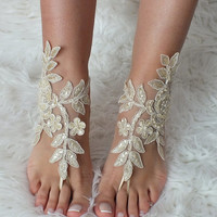 Champagne Gold lace barefoot sandals, french lace sandals, wedding anklet, Beach wedding barefoot sandals, embroidered sandals