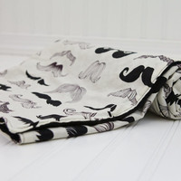 Mustache Baby Blanket Where's My Stache with Black Minky, Moustache