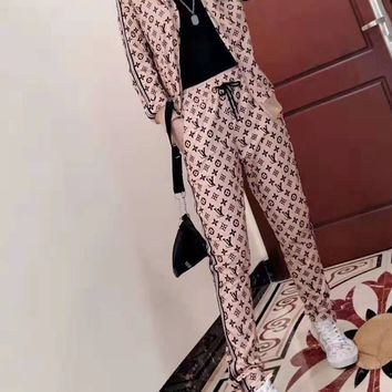 """""""LOUIS VUITTON"""" Woman's Leisure Fashion Letter Personality Printing Zipper Spell Color Long Sleeve Tops Trousers Two-Piece Set Casual Wear"""