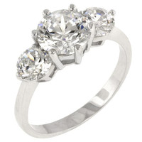 Classic Clear Triplet Engagement Ring, size : 07