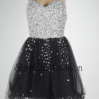 Black Short Sparkly Top Strapless Ruched Prom Dress Cheap