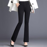 Women's Office Lady Work Long Flare Pants Solid High Waist Plus Size Woman Trousers Spring Elegant Slim Formal Female Pants