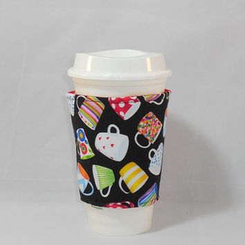 Slide On Coffee Cozy Made With Coffee Cup Themed Fabric