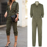 2016 Hot Fashion Women's Ladies Long Sleeves Turn-down Collar Slim Full Body Romper Jumpsuits Army green