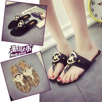 Stylish Design Korean Metal Summer Flat Sandals [11884976083]