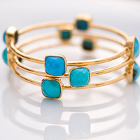 Bangle - Turquoise Bracelet - December Birthstone - Gemstone Bangles - Bezel Set Bangles - Gold Bracelets