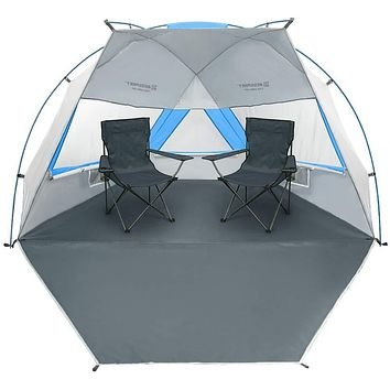 Bessport Beach Tent 2 & 3 Person UPF 50+ Easy Setup, Silver Coating Extra Large Tent for Beach Sun Shelter Canopy Lightweight with Extended Zippered Porch for Camping, Fishing white&blue-XL