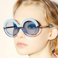 2016 New Brand Women Round Sunglasses Hollywood Pool Sea Blue Female Fashion Oversize Arrow Mirror Glasses Oculos UV400