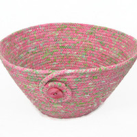 Coiled Fabric Bowl, Basket, Pastel, Pink and Green