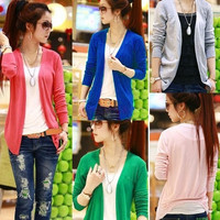 Fashion Women Irregular Hem Long Sleeve Cardigan Knit Sweater Tops Candy Colors One size 7299 Knitwear = 1958362052