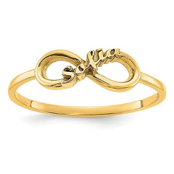 14K Yellow Gold Personalized Infinity Name Ring