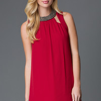 Short Burgundy Red Homecoming Dress with a High Beaded Collar