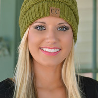 Olive Slouchy Knit Beanie