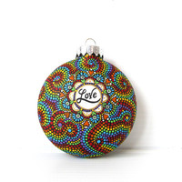 LOVE hand painted shatterproof plastic ornament LOVE Rainbow colors dotted Ornament
