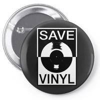 save the vinyl Pin-back button