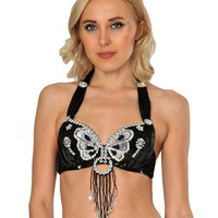 Black Angel Wings Halter Bra Top