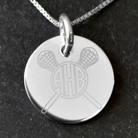 Sterling Silver 21 mm Circle Necklace Lacrosse Monogram   Lacrosse Necklaces   Lacrosse Jewelry   Sterling Silver Necklaces for Lacrosse Players
