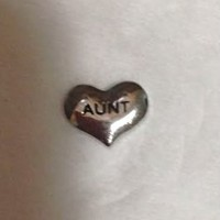 Silver AUNT Heart Floating Charm