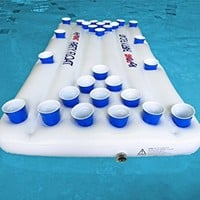 H2PONG Inflatable Beer Pong Table Float, Includes 5 Ping Pong Balls - Floating Pool Party Game Raft and Lounge
