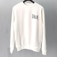 DIOR Newest Trending Women Men Casual Round Collar Sweater Sweatshirt White
