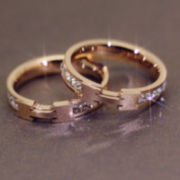 Hermes Letter diamond ring men and women couple ring