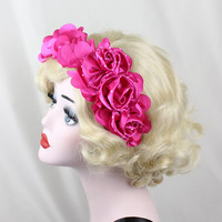 Hot Pink Satin Headband, Flower Crown, High Fashion, Roses, Costume Head Piece, Fascinator, Black, Hair Accessory