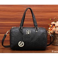 CH Carolina Herrera Fashion Multicolor Women Leather Satchel Handbag Shoulder Bag Black I-MYJSY-BB