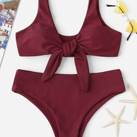 Knot Front Plunge Top With Panty Bikini