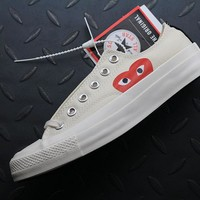 hcxx Converse Cdg Play Addict Fashion Canvas Flats Shoes Beige