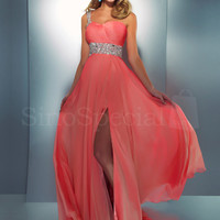 Enhancing Coral A-line One-shoulder Neckline Sweep Train Split Prom Dress-SinoSpecial.com