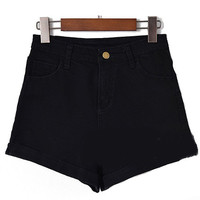 High Waist Cuffed Denim Black Mini Shorts