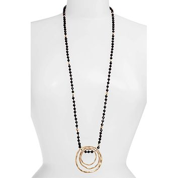 Long Beaded Pendant Necklace | More Colors Available