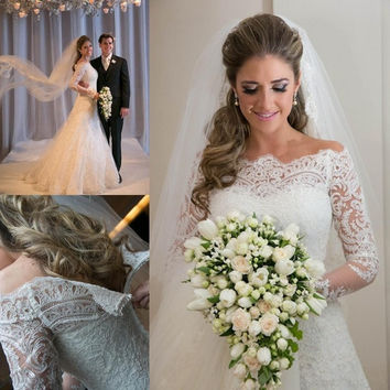 2015 Vestidos De Noiva Romantic Appliques Lace Wedding Dresses Vintage Long Sleeves A Line Bridal Gown Beach Wedding Gowns Robe BO5656 = 1933181380
