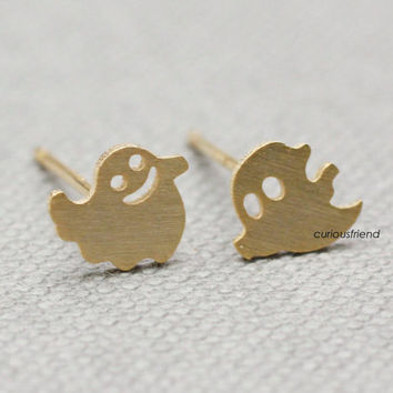 Fun and cute Smiley Ghosts earrings / casper earrings / ghost studs- Available  in 2 colors (Gold , Silver)