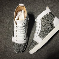 KUYOU Christian Louboutin red sole classic rivet Roller-Boat CL silver high-top sneakers