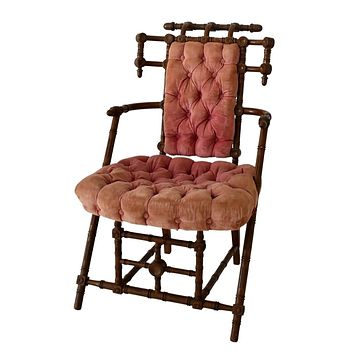 1869 George Hunzinger Side Chair with Orig Tufted Fabric Mauve Rose Aesthetic Movement