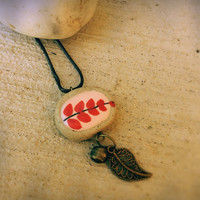 Red flower clay necklace,Boho ceramic necklace,unique jewelry,rope,Natural vegan jewelry,porcelain pendant,hand painted,handmade,hippie
