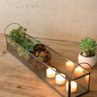Metal And Glass Long Tray