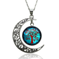 Cabochon Moon Tree of Life Pendant Necklace