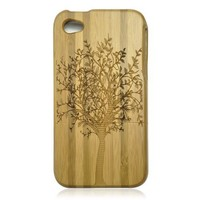 Bamboo Iphone4/4s Case- Hand Carved Tree